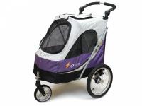 Kočárek pro psy s 38cm kolečky a nosností až 30 kg. Rozměry kabiny 72 × 45 × 60 cm, možnost připevnění upravovacího stolku. Barva fialovo-šedá. (2)