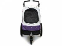 Kočárek pro psy s 38cm kolečky a nosností až 30 kg. Rozměry kabiny 72 × 45 × 60 cm, možnost připevnění upravovacího stolku. Barva fialovo-šedá. 3