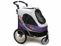 Kočárek pro psy s 38cm kolečky a nosností až 30 kg. Rozměry kabiny 72 × 45 × 60 cm, možnost připevnění upravovacího stolku. Barva fialovo-šedá. 4
