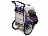 Kočárek pro psy s 38cm kolečky a nosností až 30 kg. Rozměry kabiny 72 × 45 × 60 cm, možnost připevnění upravovacího stolku. Barva fialovo-šedá. 5