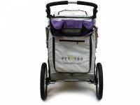 Kočárek pro psy s 38cm kolečky a nosností až 30 kg. Rozměry kabiny 72 × 45 × 60 cm, možnost připevnění upravovacího stolku. Barva fialovo-šedá. 6
