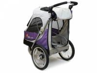 Kočárek pro psy s 38cm kolečky a nosností až 30 kg. Rozměry kabiny 72 × 45 × 60 cm, možnost připevnění upravovacího stolku. Barva fialovo-šedá. 7