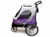 Kočárek pro psy s 38cm kolečky a nosností až 30 kg. Rozměry kabiny 72 × 45 × 60 cm, možnost připevnění upravovacího stolku. Barva fialovo-šedá.
