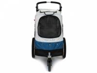 Kočárek pro psy s 38cm kolečky a nosností až 30 kg. Rozměry kabiny 72 × 45 × 60 cm, možnost připevnění upravovacího stolku. Barva modro-šedá.