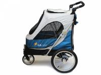 Kočárek pro psy s 38cm kolečky a nosností až 30 kg. Rozměry kabiny 72 × 45 × 60 cm, možnost připevnění upravovacího stolku. Barva modro-šedá. 3