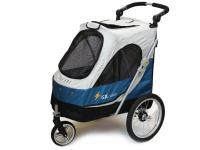 Kočárek pro psy s 38cm kolečky a nosností až 30 kg. Rozměry kabiny 72 × 45 × 60 cm, možnost připevnění upravovacího stolku. Barva modro-šedá. 4