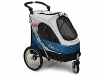 Kočárek pro psy s 38cm kolečky a nosností až 30 kg. Rozměry kabiny 72 × 45 × 60 cm, možnost připevnění upravovacího stolku. Barva modro-šedá. 5