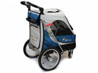 Kočárek pro psy s 38cm kolečky a nosností až 30 kg. Rozměry kabiny 72 × 45 × 60 cm, možnost připevnění upravovacího stolku. Barva modro-šedá. 6