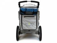 Kočárek pro psy s 38cm kolečky a nosností až 30 kg. Rozměry kabiny 72 × 45 × 60 cm, možnost připevnění upravovacího stolku. Barva modro-šedá. 7