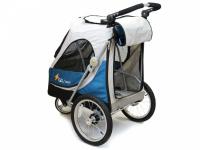 Kočárek pro psy s 38cm kolečky a nosností až 30 kg. Rozměry kabiny 72 × 45 × 60 cm, možnost připevnění upravovacího stolku. Barva modro-šedá. 8