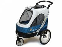 Kočárek pro psy s 38cm kolečky a nosností až 30 kg. Rozměry kabiny 72 × 45 × 60 cm, možnost připevnění upravovacího stolku. Barva modro-šedá. 2