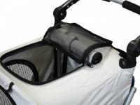 Kočárek pro psy s 38cm kolečky a nosností až 30 kg. Rozměry kabiny 72 × 45 × 60 cm, možnost připevnění upravovacího stolku. Barva modro-šedá. 9