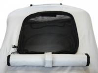 Kočárek pro psy s 38cm kolečky a nosností až 30 kg. Rozměry kabiny 72 × 45 × 60 cm, možnost připevnění upravovacího stolku. Barva modro-šedá. 20
