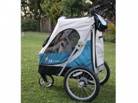 Kočárek pro psy s 38cm kolečky a nosností až 30 kg. Rozměry kabiny 72 × 45 × 60 cm, možnost připevnění upravovacího stolku. Barva modro-šedá. FOTO 7