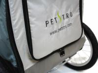 Kočárek pro psy s 38cm kolečky a nosností až 30 kg. Rozměry kabiny 72 × 45 × 60 cm, možnost připevnění upravovacího stolku. Barva tmavě šedá-šedá. Detail 9