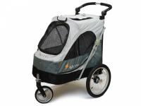 Kočárek pro psy s 38cm kolečky a nosností až 30 kg. Rozměry kabiny 72 × 45 × 60 cm, možnost připevnění upravovacího stolku. Barva tmavě šedá-šedá. 2