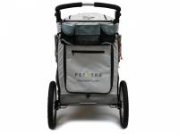 Kočárek pro psy s 38cm kolečky a nosností až 30 kg. Rozměry kabiny 72 × 45 × 60 cm, možnost připevnění upravovacího stolku. Barva tmavě šedá-šedá. 5