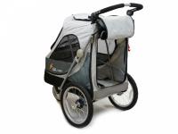 Kočárek pro psy s 38cm kolečky a nosností až 30 kg. Rozměry kabiny 72 × 45 × 60 cm, možnost připevnění upravovacího stolku. Barva tmavě šedá-šedá. 7