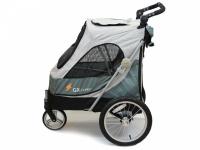 Kočárek pro psy s 38cm kolečky a nosností až 30 kg. Rozměry kabiny 72 × 45 × 60 cm, možnost připevnění upravovacího stolku. Barva tmavě šedá-šedá.