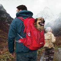 Luxusní a špičkově zpracovaný batoh na psa s nosností až 11 kg. Pevné skořepinové dno, odvětrávaný zádový panel, hrudní a bederní pásy pro ideální rozložení váhy. Barva šedo-červená. (21)
