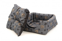 Multifunkční pelíšek pro psy sloužící jako uzavřená bouda nebo pelíšek s okrajem. Barva šedá. (3)
