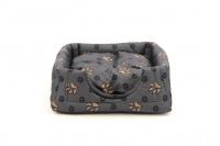 Multifunkční pelíšek pro psy sloužící jako uzavřená bouda nebo pelíšek s okrajem. Barva šedá.