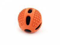 Gumový pískací míček od CAMON vhodný pro malá a střední plemena psů. Strukturovaný povrch ideální pro aportování, průměr 6,5 a 10 cm. Barva oranžová. (2)