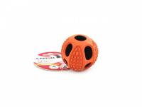 Gumový pískací míček od CAMON vhodný pro malá a střední plemena psů. Strukturovaný povrch ideální pro aportování, průměr 6,5 a 10 cm. Barva oranžová. (3)