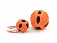 Gumový pískací míček od CAMON vhodný pro malá a střední plemena psů. Strukturovaný povrch ideální pro aportování, průměr 6,5 a 10 cm. Barva oranžová.
