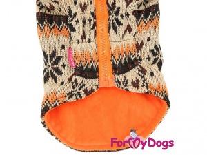 Obleček pro psy i fenky – světle hnědá mikina se vzorem od For My Dogs, detail