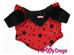 Obleček pro psy i fenky – teplá mikina s velurovými rukávy a kapucí, černo-červená (2)