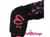 Obleček pro fenky – sinteponem zateplený zimní overal BLACK LEAVES od ForMyDogs. Kožešinová podšívka, vylepšené zapínání na zádech. (6)