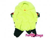 Obleček pro psy – zimní overal BLACK/MULTICOLOR od ForMyDogs z voduodpuzujícího materiálu s plyšovou podšívkou. Zapínání na druky na bříšku. (2)