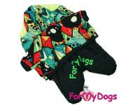 Obleček pro psy – zimní overal BLACK/MULTICOLOR od ForMyDogs z voduodpuzujícího materiálu s plyšovou podšívkou. Zapínání na druky na bříšku. (3)
