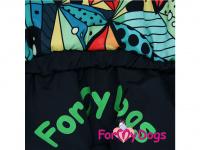 Obleček pro psy – zimní overal BLACK/MULTICOLOR od ForMyDogs z voduodpuzujícího materiálu s plyšovou podšívkou. Zapínání na druky na bříšku. (4)