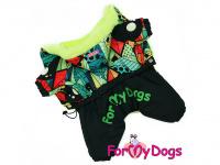 Obleček pro psy – zimní overal BLACK/MULTICOLOR od ForMyDogs z voduodpuzujícího materiálu s plyšovou podšívkou. Zapínání na druky na bříšku.