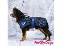Obleček pro psy i fenky malých až středních plemen – stylová pláštěnka BLUE od ForMyDogs. Zapínání na sponu, hladká podšívka. Barva modrá. (FOTO 3)