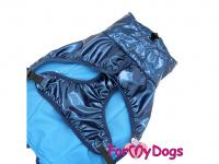Obleček pro psy i fenky malých až středních plemen – stylová pláštěnka BLUE od ForMyDogs. Zapínání na sponu, hladká podšívka. Barva modrá. (6)