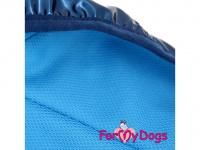 Obleček pro psy i fenky malých až středních plemen – stylová pláštěnka BLUE od ForMyDogs. Zapínání na sponu, hladká podšívka. Barva modrá. (8)