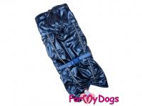 Obleček pro psy i fenky malých až středních plemen – stylová pláštěnka BLUE od ForMyDogs. Zapínání na sponu, hladká podšívka. Barva modrá. (5)