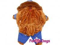 Obleček pro psy – teplý zimní overal BLUE DENIM FUR od For My Dogs z voduodpuzujícího materiálu. Jeansové kalhoty, kožešinová podšívka, zateplený sinteponem. (2)