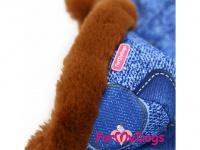 Obleček pro psy – teplý zimní overal BLUE DENIM FUR od For My Dogs z voduodpuzujícího materiálu. Jeansové kalhoty, kožešinová podšívka, zateplený sinteponem. (3)