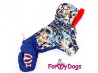 Obleček pro fenky – sinteponem zateplený zimní overal BLUE FOLK od ForMyDogs. Vylepšené zapínání na zádech, odnímatelná kapuce, hedvábná podšívka. (2)
