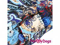 Obleček pro fenky – sinteponem zateplený zimní overal BLUE FOLK od ForMyDogs. Vylepšené zapínání na zádech, odnímatelná kapuce, hedvábná podšívka. (5)