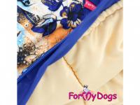 Obleček pro fenky – sinteponem zateplený zimní overal BLUE FOLK od ForMyDogs. Vylepšené zapínání na zádech, odnímatelná kapuce, hedvábná podšívka. (6)