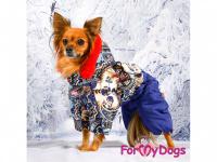 Obleček pro fenky – sinteponem zateplený zimní overal BLUE FOLK od ForMyDogs. Vylepšené zapínání na zádech, odnímatelná kapuce, hedvábná podšívka. (7)