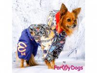 Obleček pro fenky – sinteponem zateplený zimní overal BLUE FOLK od ForMyDogs. Vylepšené zapínání na zádech, odnímatelná kapuce, hedvábná podšívka. (8)