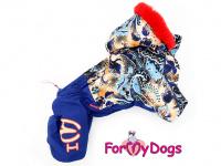 Obleček pro fenky – sinteponem zateplený zimní overal BLUE FOLK od ForMyDogs. Vylepšené zapínání na zádech, odnímatelná kapuce, hedvábná podšívka.