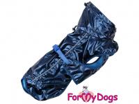 Obleček pro psy i fenky malých až středních plemen – stylová pláštěnka BLUE od ForMyDogs. Zapínání na sponu, hladká podšívka. Barva modrá.