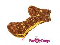 Obleček pro psy – lehoučký overal ForMyDogs BROWN FLEECE z vysoce kvalitního flísu. Zvýšený límec, zapínání na zip na zádech, vhodný i pro domácí nošení. (4)